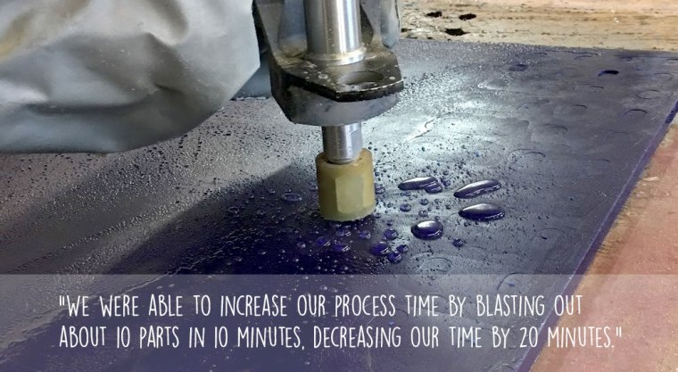 Flow waterjet cutting urethane parts, decreasing Plan Tech's processing time by 20 minutes.